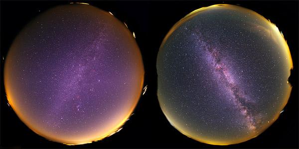 در نیمکرهی شمالی در شبهای تابستان راستای دید ما به سمت مرکز کهکشانمان میباشد و ما به درخشانترین ناحیهی راهشیری مینگریم(راست) در حالیکه در زمستان راهشیری را از نقطهی مقابل مینگریم و تنها باریکهای از نور به سویمان میآید.(چپ) عکس از:Kwon O Chul